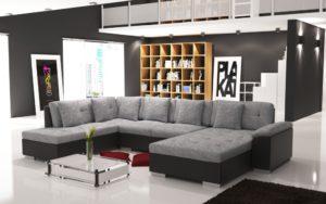 bankstellen hoekbank stof lounge