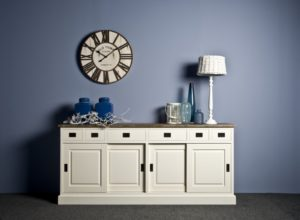 dressoir wit hout teak
